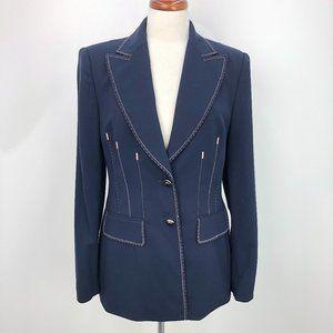 Escada Navy Pink Stitch Trim Wool Blazer Jacket